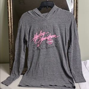 Harley Davidson gray pink hoodie size small